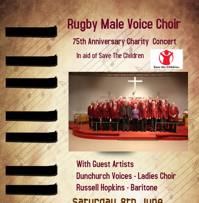 Rugby Male Voice Choir 75th anniversary concert – Saturday 8th June at 7.30pm